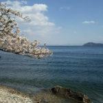 海津大崎から竹生島を望む