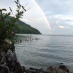 海津:梅雨の晴れ間に 虹の架け橋